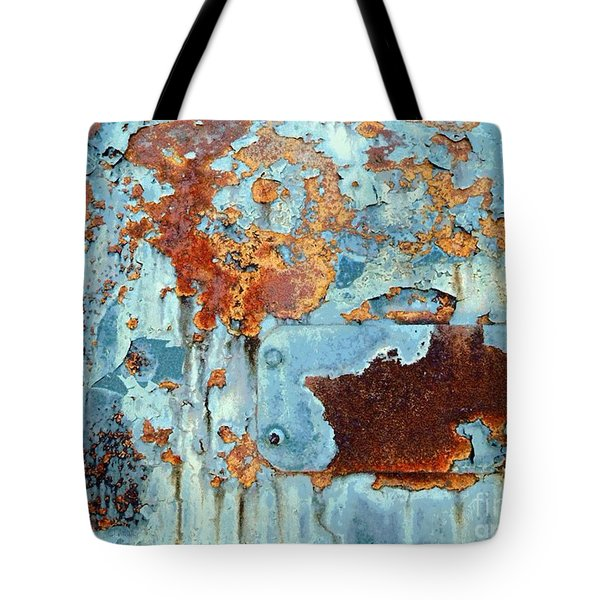 Tote Bag featuring the photograph Rust - My Rusted World - Train - Abstract by Janine Riley