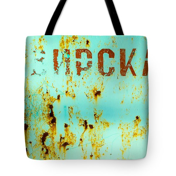 Rust On Metal Russian Letters Tote Bag