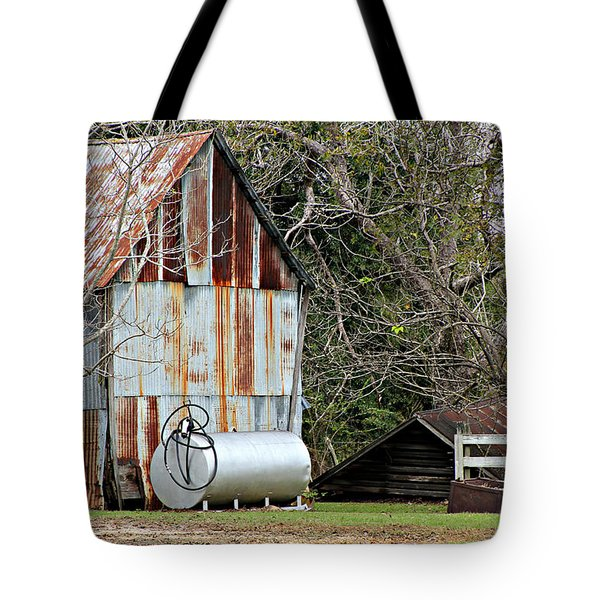 Rusted Tin Shed In Burnt Corn Tote Bag