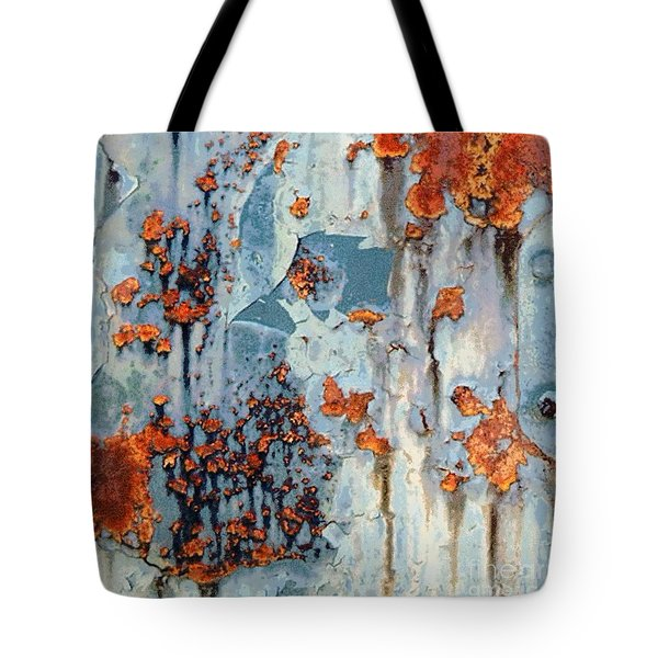 Tote Bag featuring the photograph Rusted World - Orange And Blue - Abstract by Janine Riley