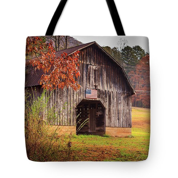Tote Bag featuring the photograph Rustic Barn In Autumn by Doug Camara