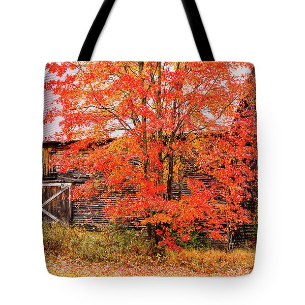 Tote Bag featuring the photograph Rustic Barn In Fall Colors by Jeff Folger