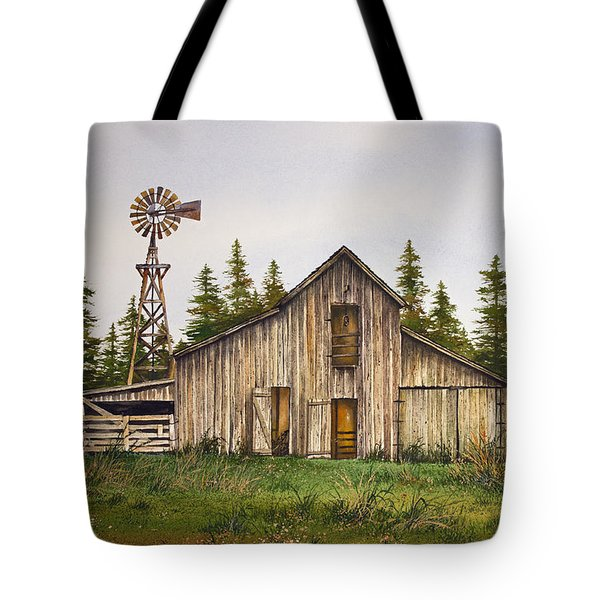 Tote Bag featuring the painting Rustic Barn by James Williamson