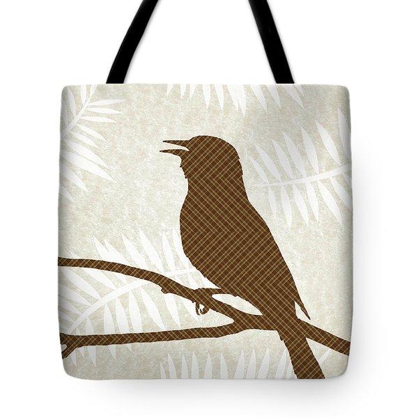 Rustic Brown Bird Silhouette Tote Bag