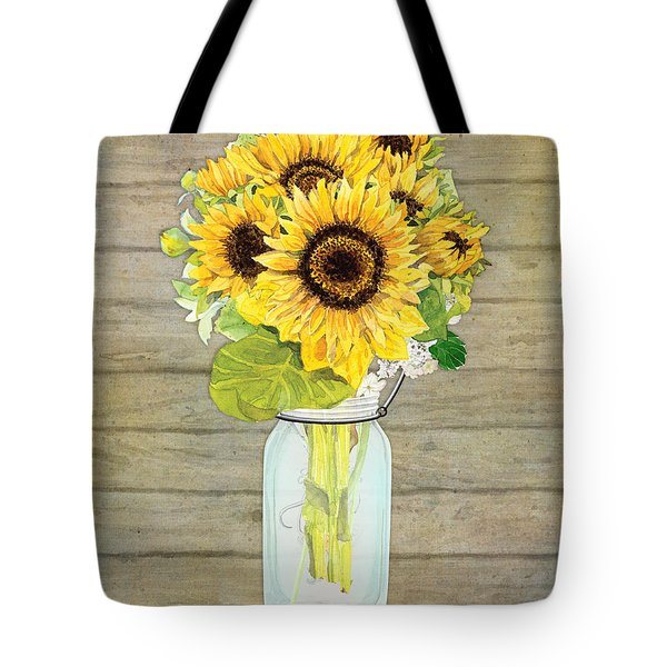 Rustic Country Sunflowers In Mason Jar Tote Bag