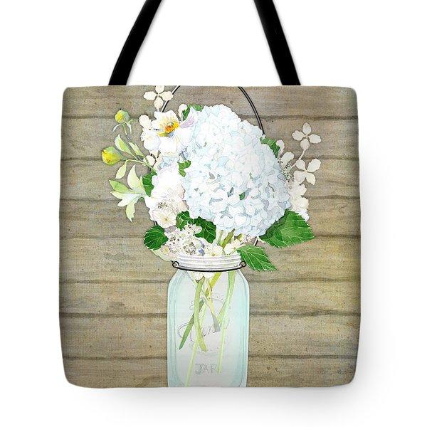 Rustic Country White Hydrangea N Matillija Poppy Mason Jar Bouquet On Wooden Fence Tote Bag