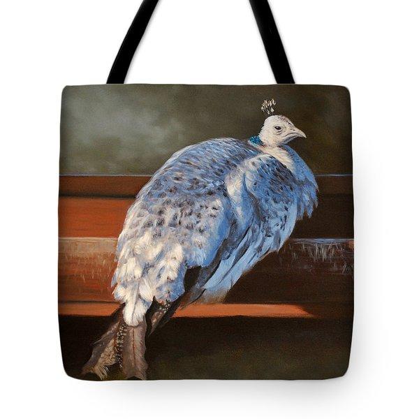 Rustic Elegance - White Peahen Tote Bag