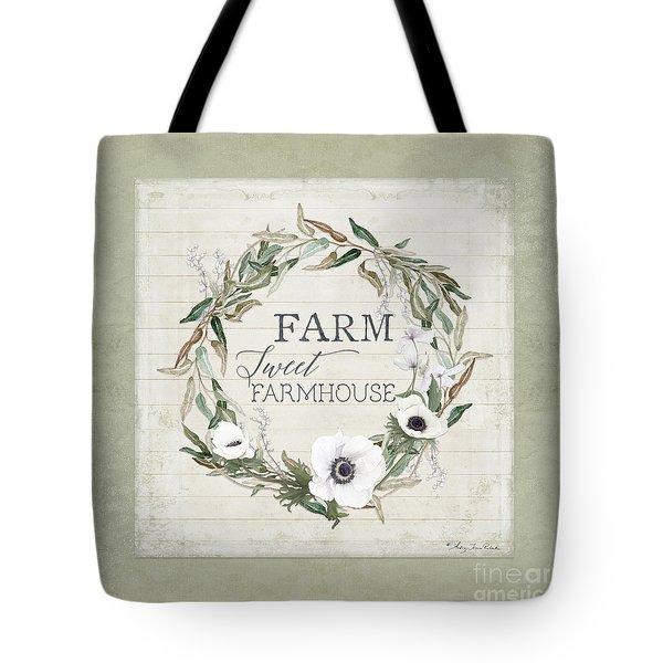 Rustic Farm Sweet Farmhouse Shiplap Wood Boho Eucalyptus Wreath N Anemone Floral Tote Bag