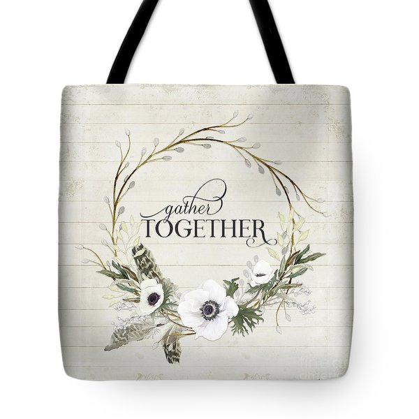 Rustic Farmhouse Gather Together Shiplap Wood Boho Feathers N Anemone Floral 2 Tote Bag
