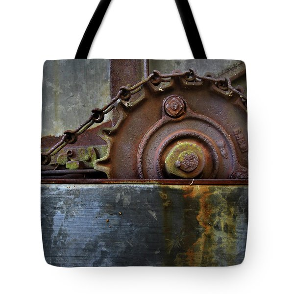 Tote Bag featuring the photograph Rustic Gear And Chain by David and Carol Kelly