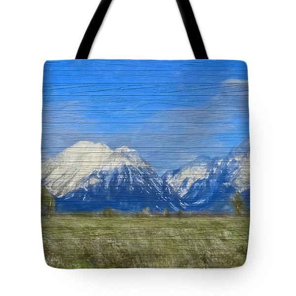 Rustic Grand Teton Range On Wood Tote Bag by Dan Sproul