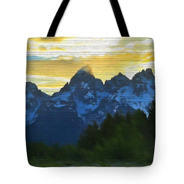 Rustic Grand Teton Sunset Tote Bag