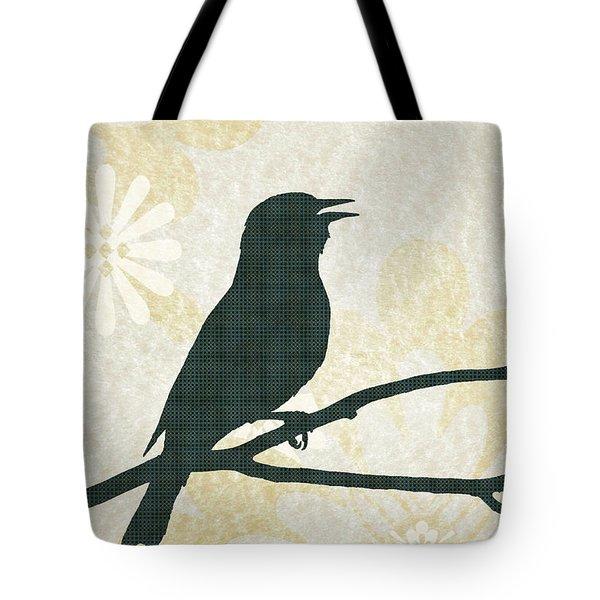 Rustic Green Bird Silhouette Tote Bag