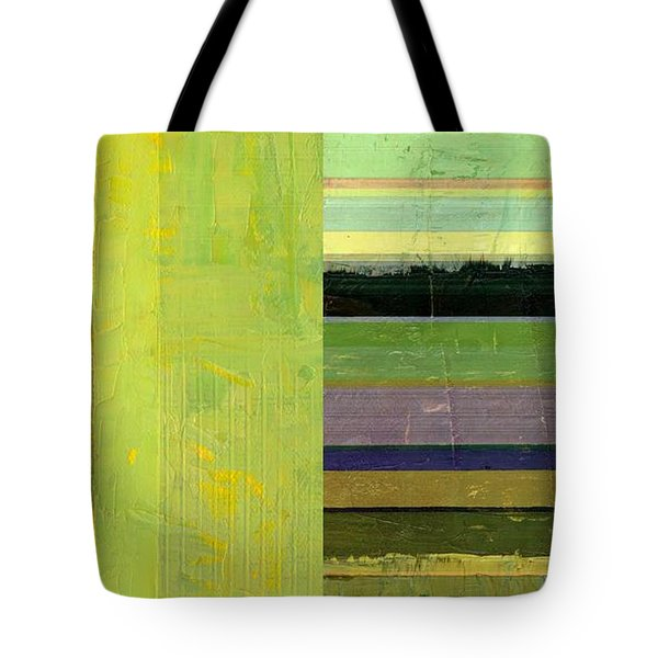 Tote Bag featuring the painting Rustic Green Flag With Stripes by Michelle Calkins