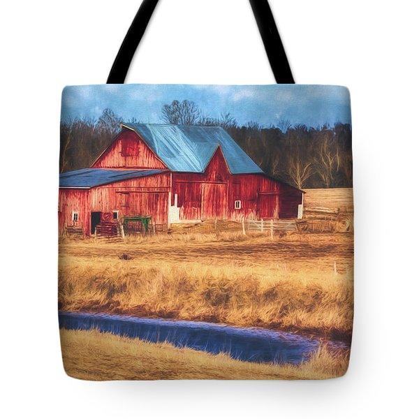 Rustic Red Barn Tote Bag