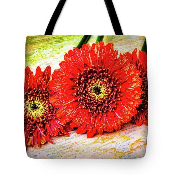 Rustic Red Dasies Tote Bag by Garry Gay