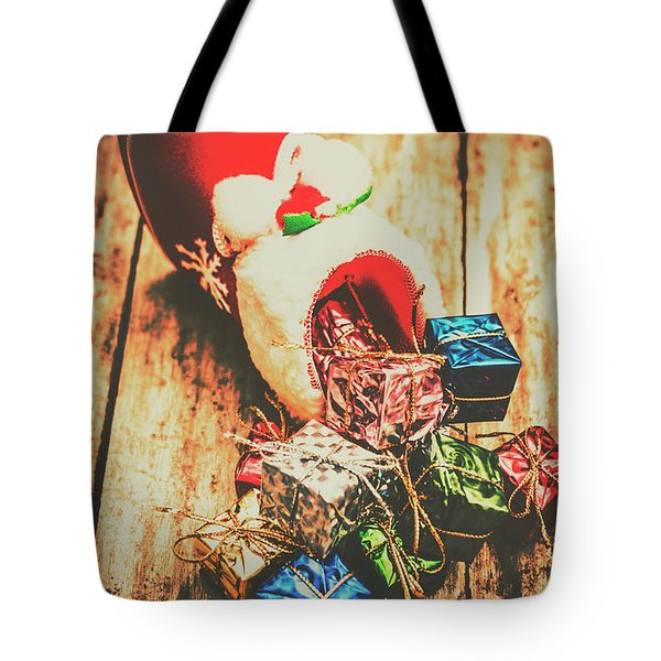 Rustic Red Xmas Stocking Tote Bag