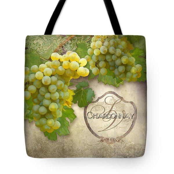 Rustic Vineyard - Chardonnay White Wine Grapes Vintage Style Tote Bag