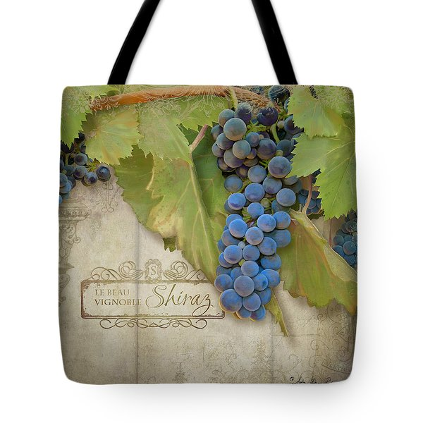 Rustic Vineyard - Shiraz Wine Grapes Over Stone Tote Bag