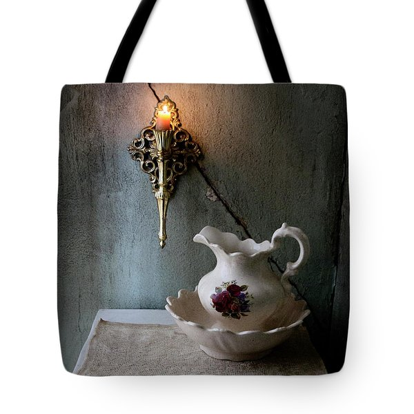 Rustic Water Closet With Brass Sconce And A Pretty Floral Patter Tote Bag