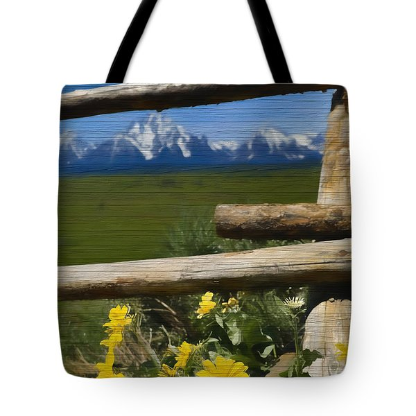 Rustic Wildflowers And Tetons Tote Bag
