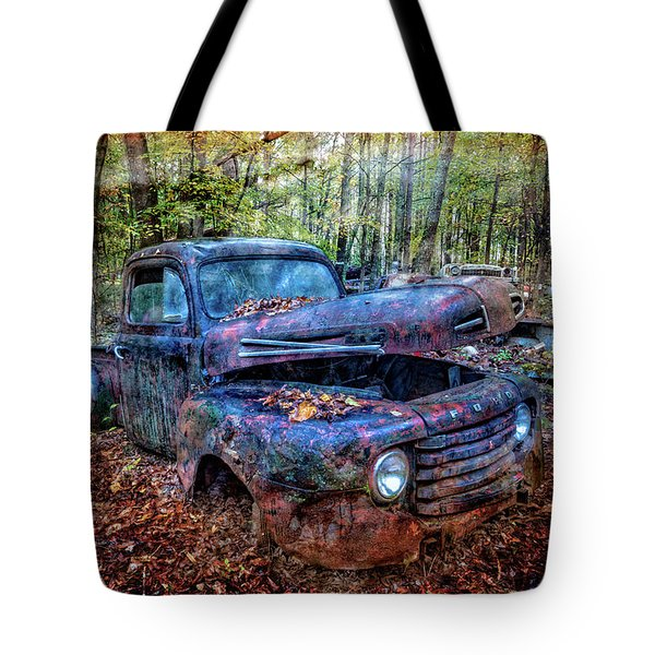 Tote Bag featuring the photograph Rusty Blue Vintage Ford  Truck by Debra and Dave Vanderlaan