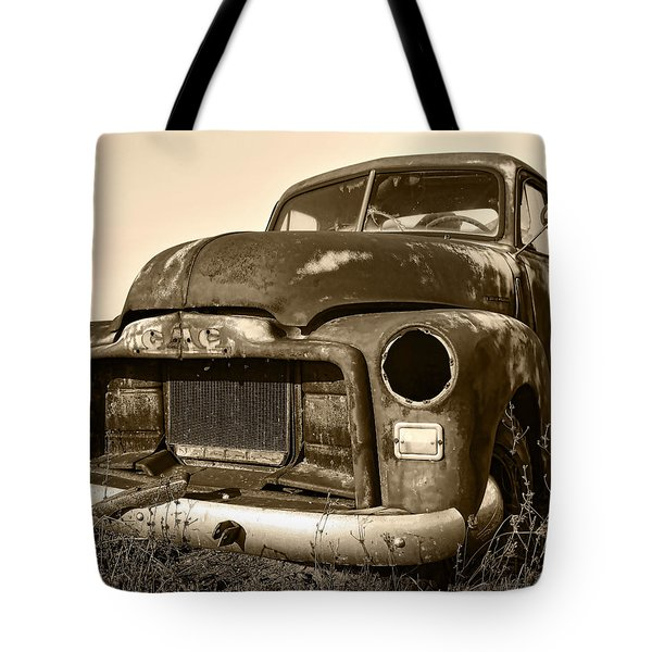 Rusty But Trusty Old Gmc Pickup Truck - Sepia Tote Bag