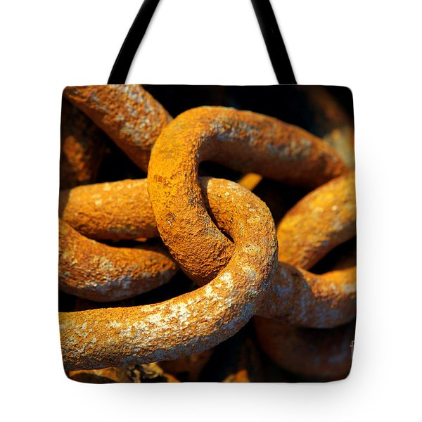 Rusty Chain Tote Bag by Carlos Caetano