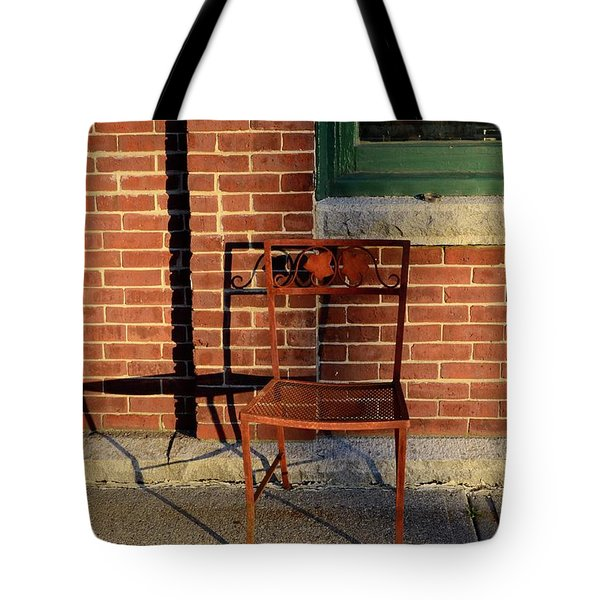 Tote Bag featuring the photograph Rusty Chair At Sunset by Corinne Rhode
