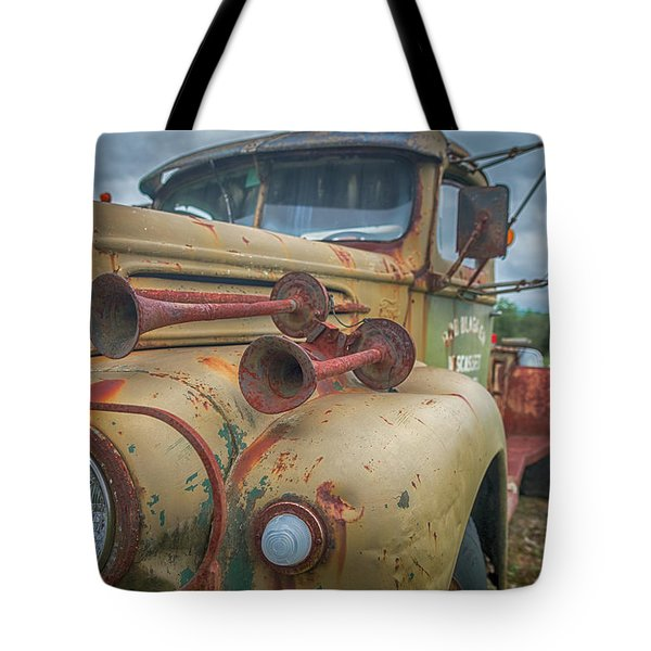 Tote Bag featuring the photograph Rusty Horns by Guy Whiteley