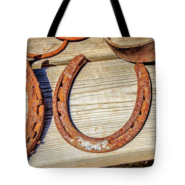 Rusty Horseshoes Found By Curators Of The Ghost Town Of St. Elmo Tote Bag by Peter Ciro
