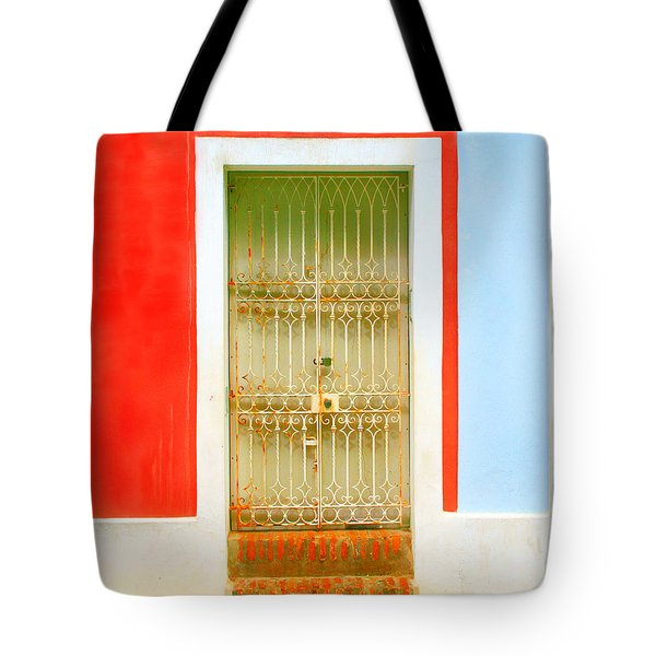 Rusty Iron Door Tote Bag by Perry Webster