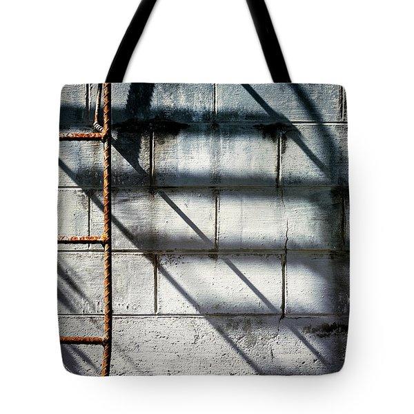 Rusty Ladder On Blue Industrial Art Tote Bag