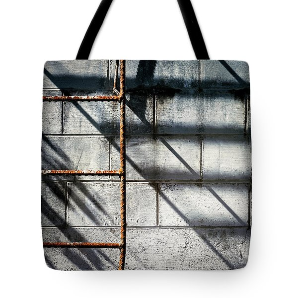 Rusty Ladder On Blue Industrial Art Square Tote Bag