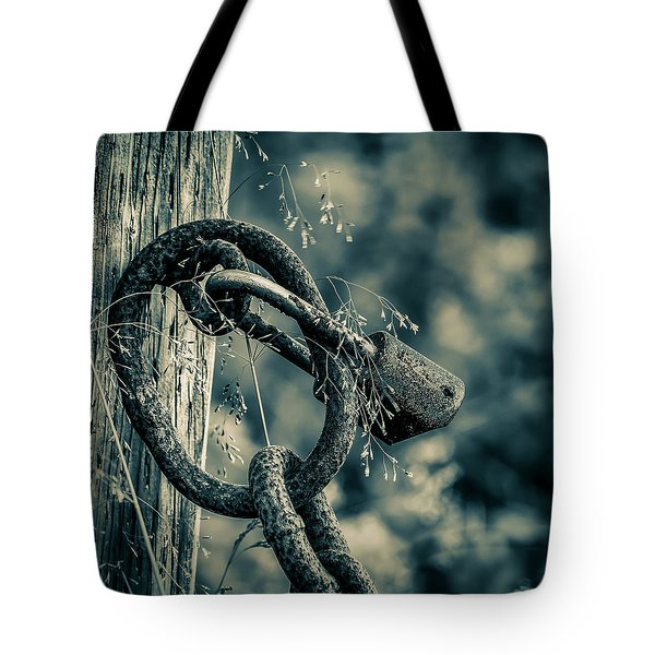 Rusty Lock And Chain Tote Bag by Ken Morris