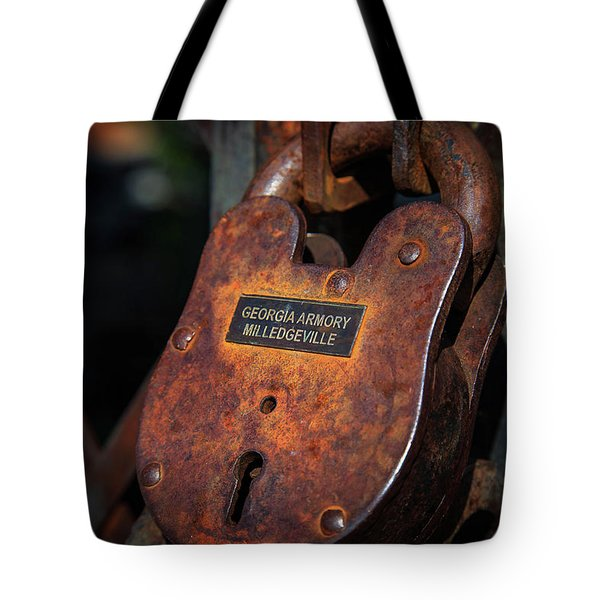 Tote Bag featuring the photograph Rusty Lock by Doug Camara