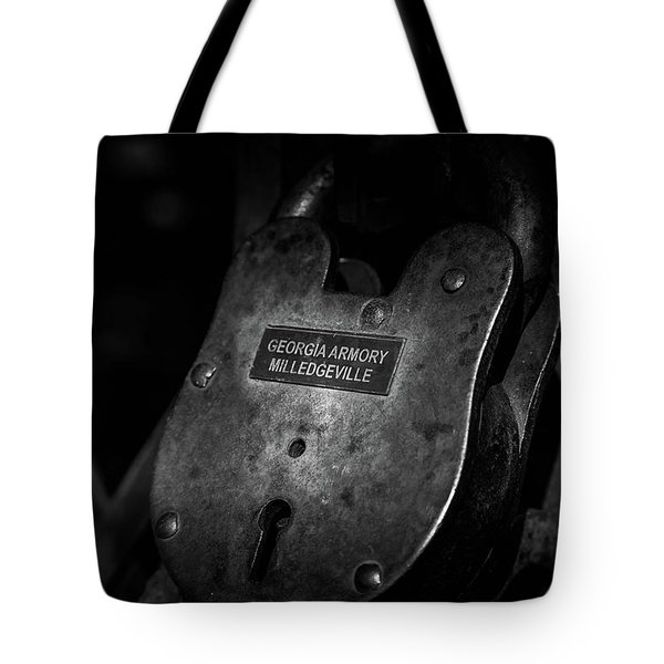 Tote Bag featuring the photograph Rusty Lock In Bw by Doug Camara