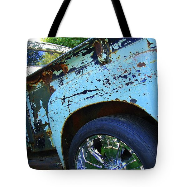 Rusty Truck With Shiny Rims Tote Bag