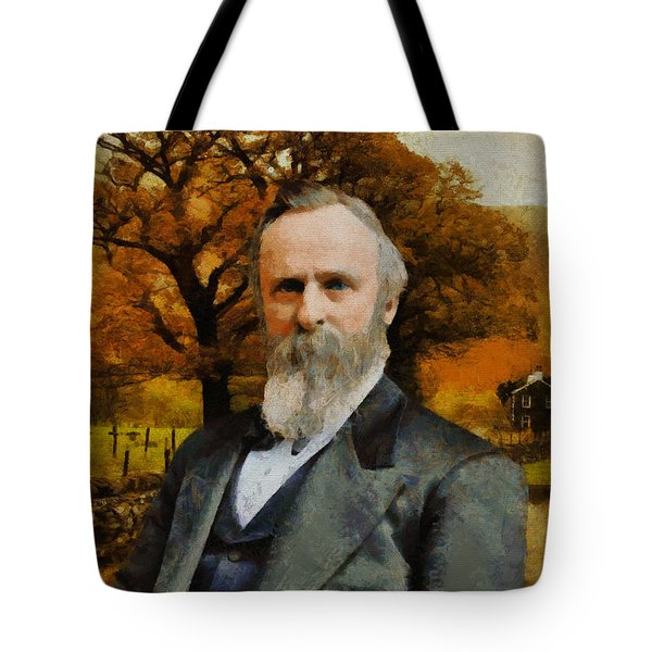 Tote Bag featuring the painting Rutherford B. Hayes by Kai Saarto