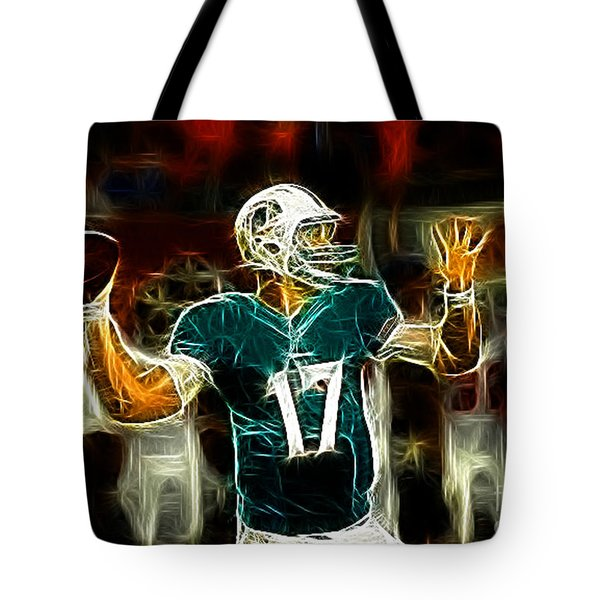Ryan Tannehill - Miami Dolphin Quarterback Tote Bag by Paul Ward