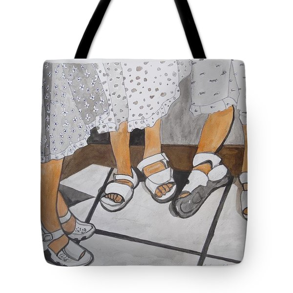 Tote Bag featuring the painting Sabbath Sandals by Esther Newman-Cohen