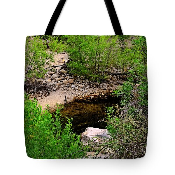 Tote Bag featuring the photograph Sabino Canyon Op44 by Mark Myhaver