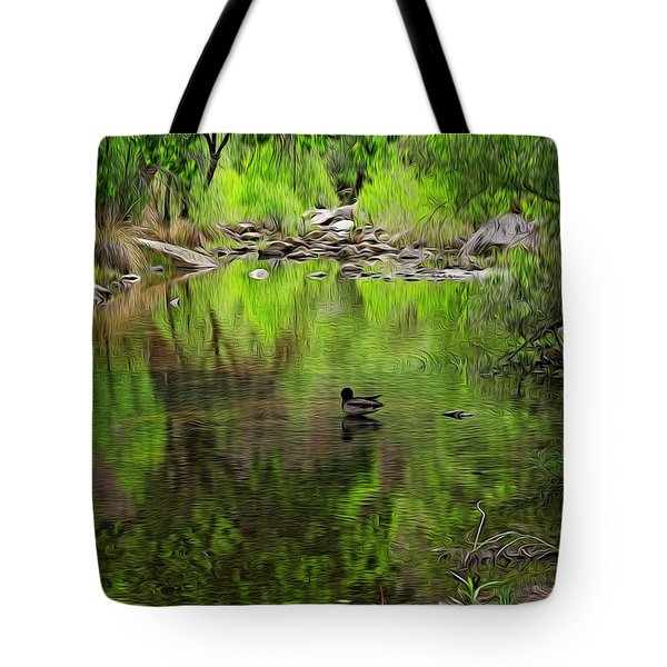 Tote Bag featuring the photograph Sabino Reflection Op53 by Mark Myhaver