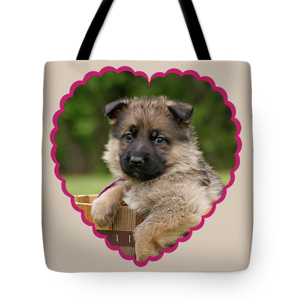 Tote Bag featuring the photograph Sable Puppy In Heart by Sandy Keeton