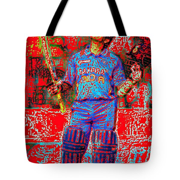 Sachin Tendulkar-100th 100-god Of Criket Tote Bag by Piety Dsilva