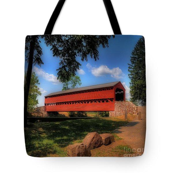 Sach's Covered Bridge Tote Bag by Lois Bryan