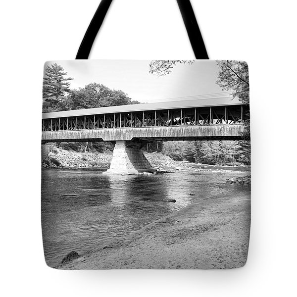 Saco River Covered Bridge In Black And White Tote Bag