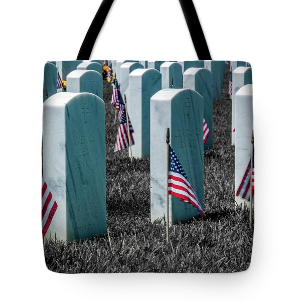 Tote Bag featuring the photograph Sacramento Valley Veterans Cemetary by Bill Gallagher