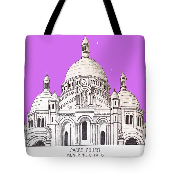 Tote Bag featuring the drawing Sacre Couer by Frederic Kohli