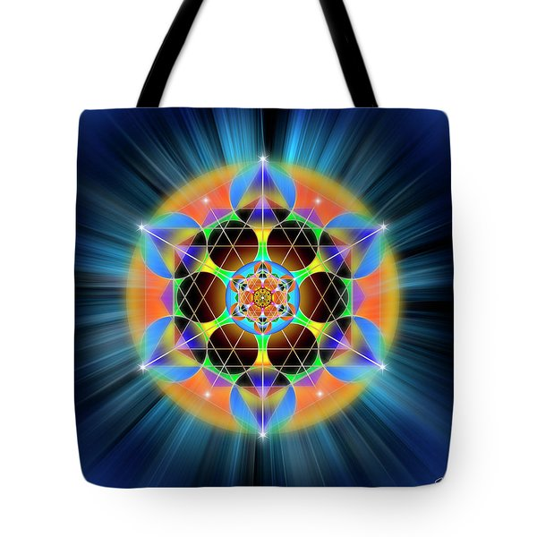 Tote Bag featuring the digital art Sacred Geometry 709 by Endre Balogh